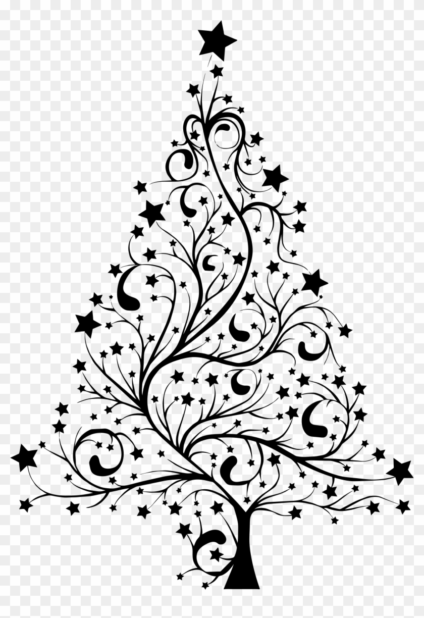 Christmas Tree Silhouette - Christmas Tree Black White - Free ...