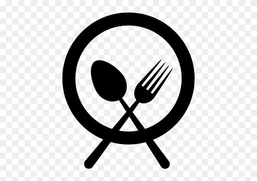 Plate With Fork And Knife Cross Vector - Food Plate Icon Vector #383178