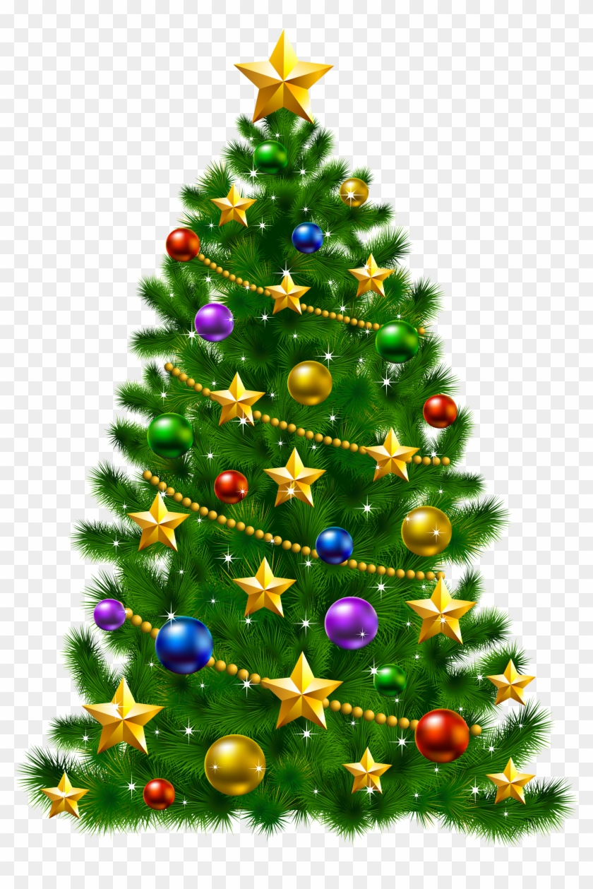 Transparent Christmas Tree With Stars Png Clipart - Christmas Tree With Stars #383296