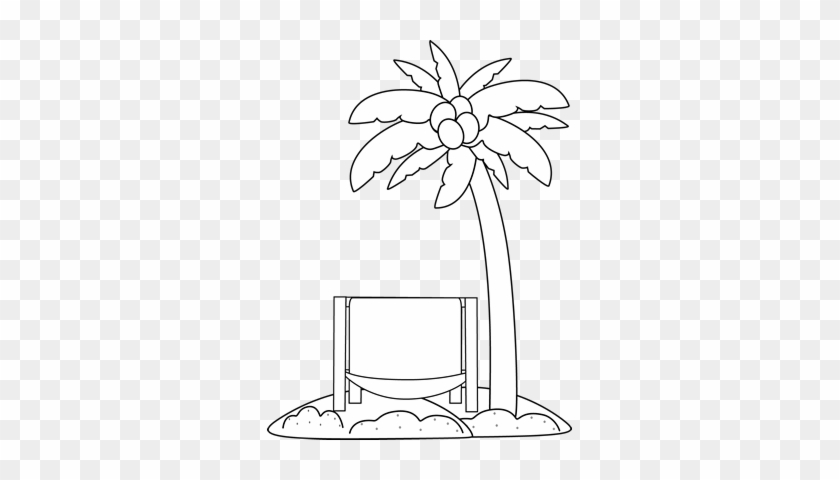 Black And White Beach Chair And Palm Tree Clip Art - Beach Clipart Black And White Transparent #383331