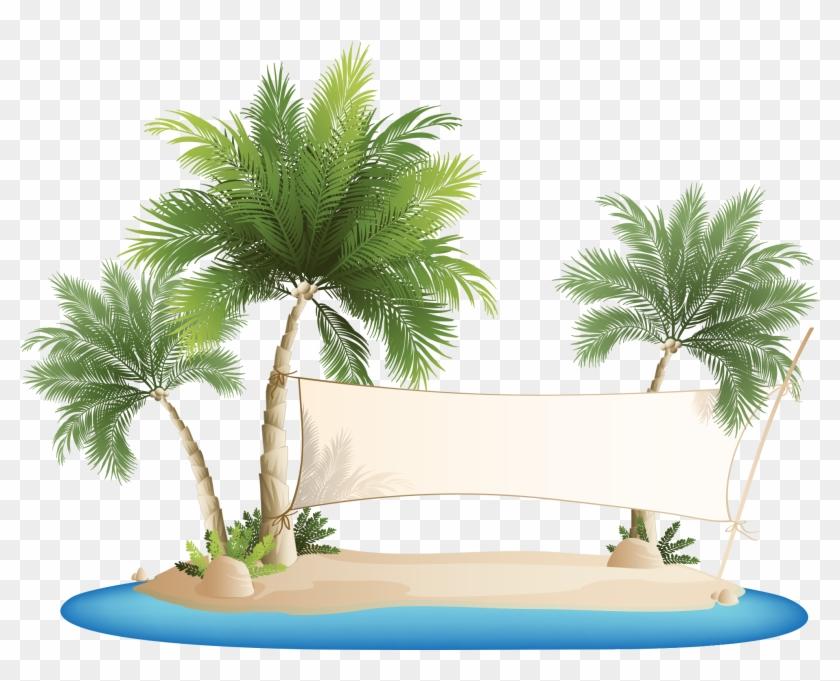 Palm Islands Beach Clip Art - Palm Tree Beach Clipart #383621