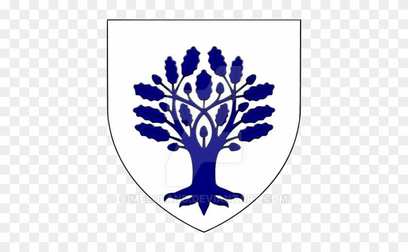 Blue Oak Tree On The Field Of White By Meloland - Oak Tree In Heraldry #384058