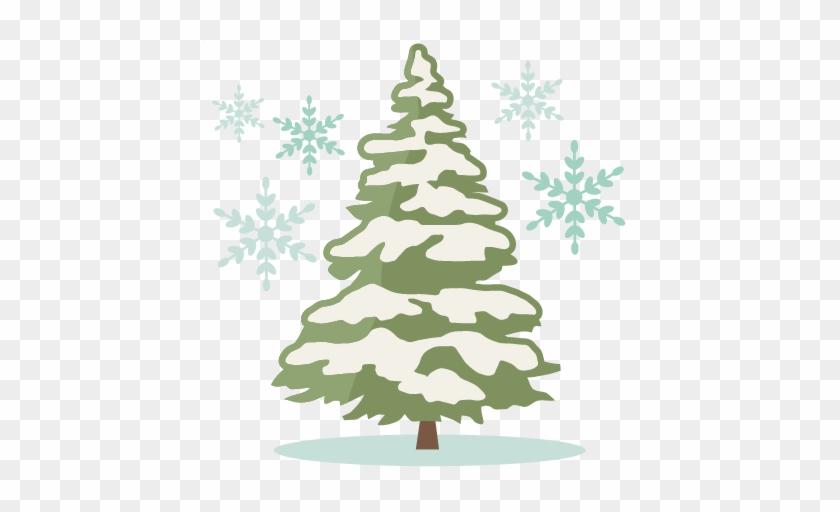Winter Pine Tree Silhouette Clipart - Christmas Tree With Snow Silhouette #385389