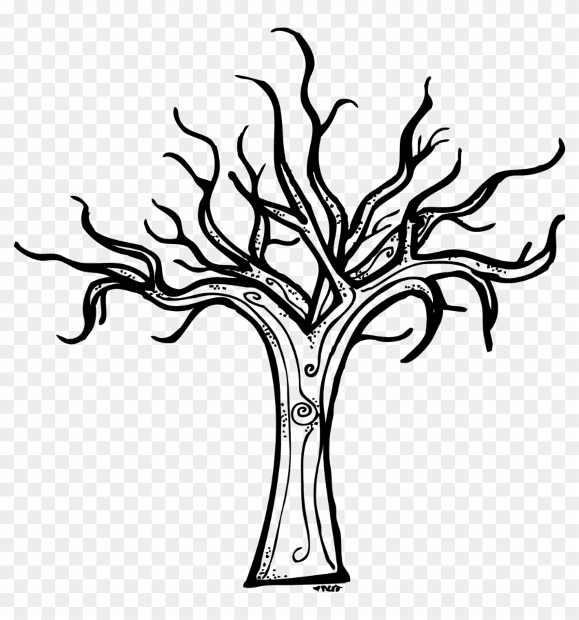 Halloween Tree Clipart Black And White - Scary Tree Coloring Page #385635