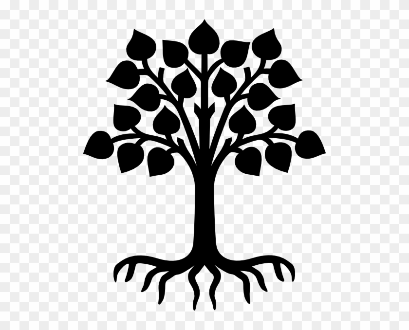 Palm Tree Silhouette - Tree With Roots Clipart Black And White #385701