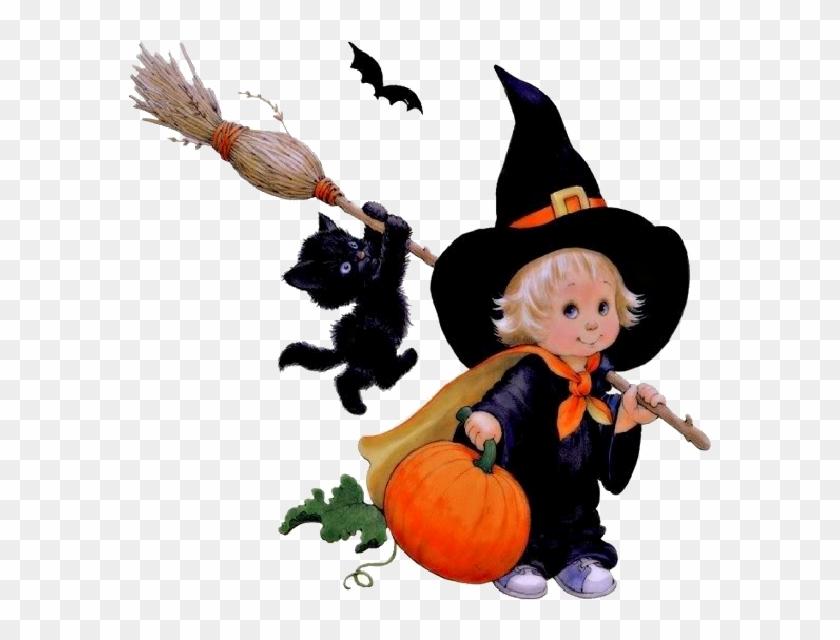 Fille En Sorcière Avec Son Balai Et Son Chat - Ruth Morehead Halloween #385776