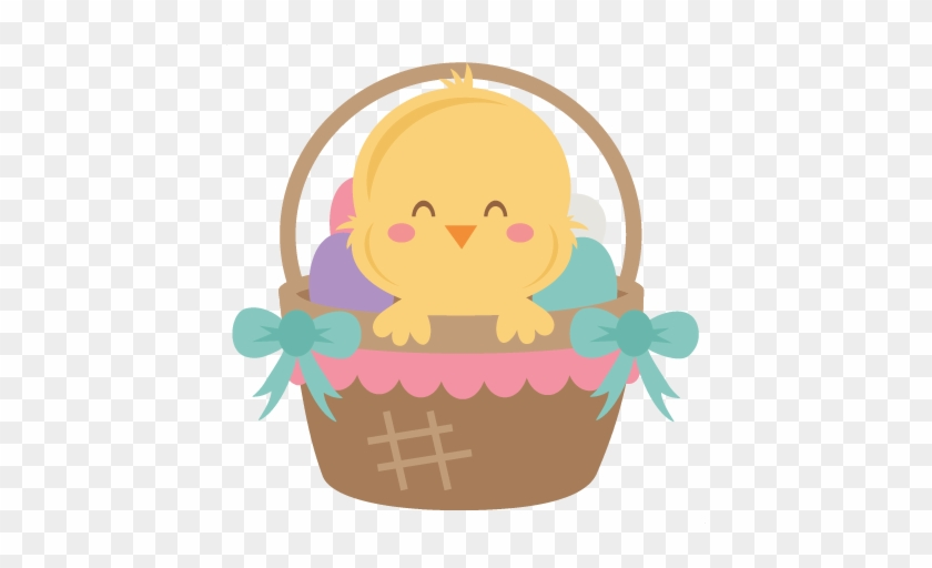 Easter Chick In Basket Svg Scrapbook Cut File Cute - Cute Easter Chick Clipart #61180
