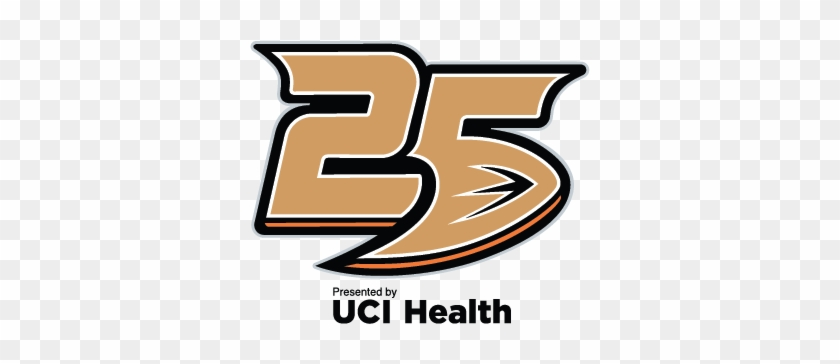 Anaheim Ducks Presented By Uci Health - Ducks 25th Anniversary Logo #61364