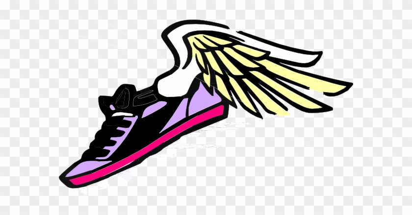 Pix For Track Shoes With Wings Clip Art Library - Running Shoe Clipart #61455