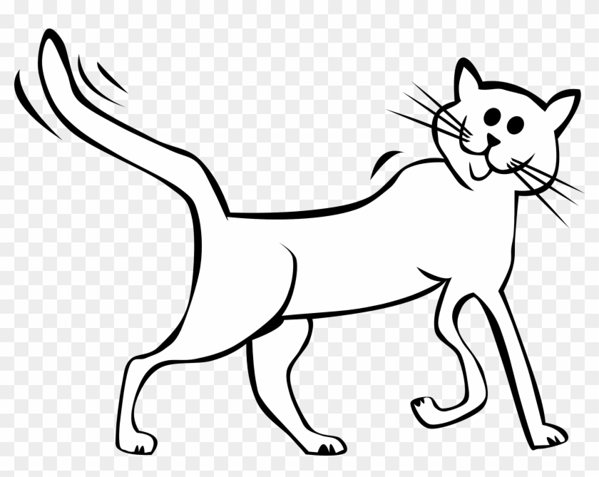 Clipart Of White Cat Cartoon Black And Free Download - Cartoon Picture Of A Cat Black And White #61459