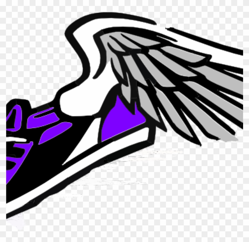 Running Shoes Clipart Running Shoe With Wings Clip - Track And Field Clipart Blue #61476