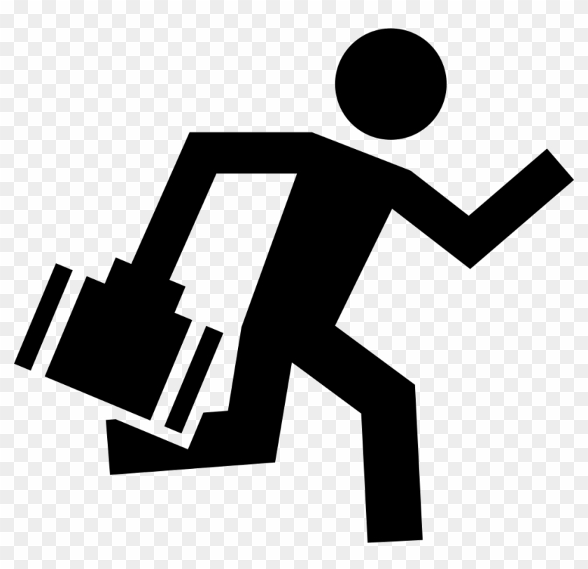 Worker Running With A Briefcase In One Hand Comments - Trabajador Icono #61486