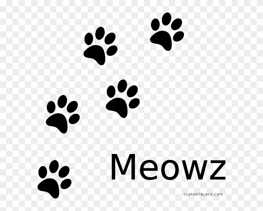 Cat Paw Print Animal Free Black White Clipart Images - Blue And Gold Paw Print #61657
