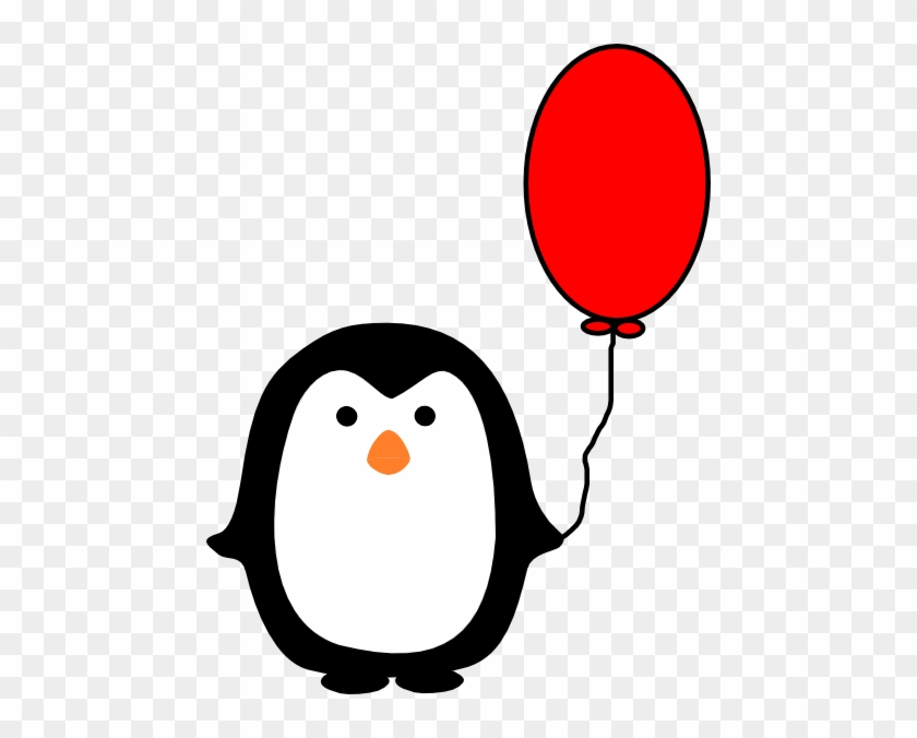 Cartoon Penguin Holding A Balloon #61711