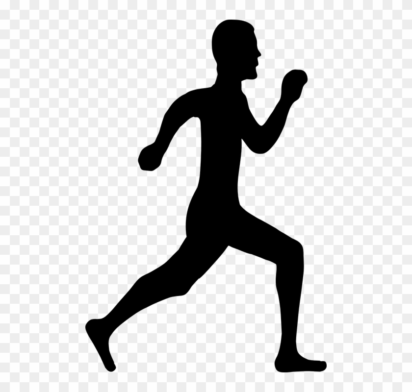 Run Running Man Silhouette Active Fitness Healthy - Person Running Clipart Png #62035