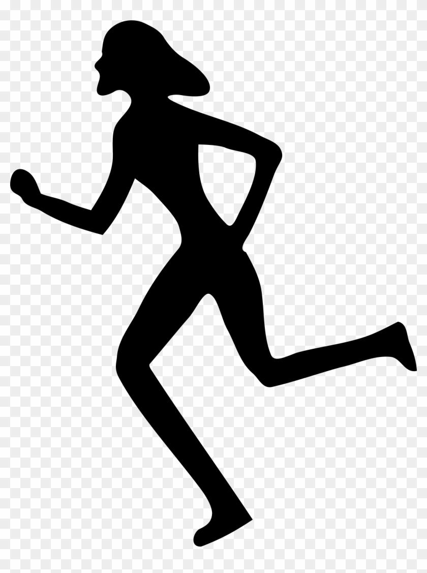Free Silhouette Of Man Running, Hanslodge Clip Art - Woman Running Clip Art #62067