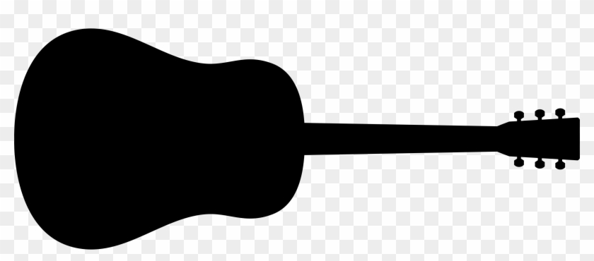 Old Fashioned Guitar Silhouette - Guitar Clipart Black And White #62216