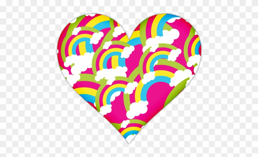 Pink Heart With Rainbows Icon, Png Clipart Image - صور Png للمصممين #62238