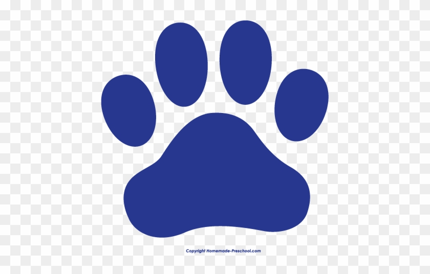 Cat Paw Free Paw Prints Clipart - Blue And White Paw Print #62374