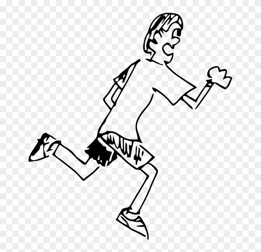 Clipart - Runningtoon - Boys Running Clipart Black And White #62393