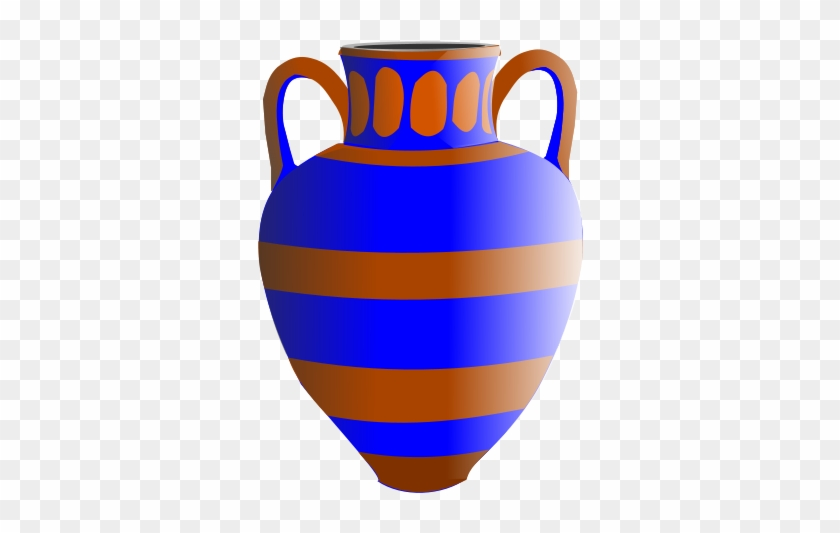 Old Fashioned Vase Blue And Brown - Vasen Clipart #62493