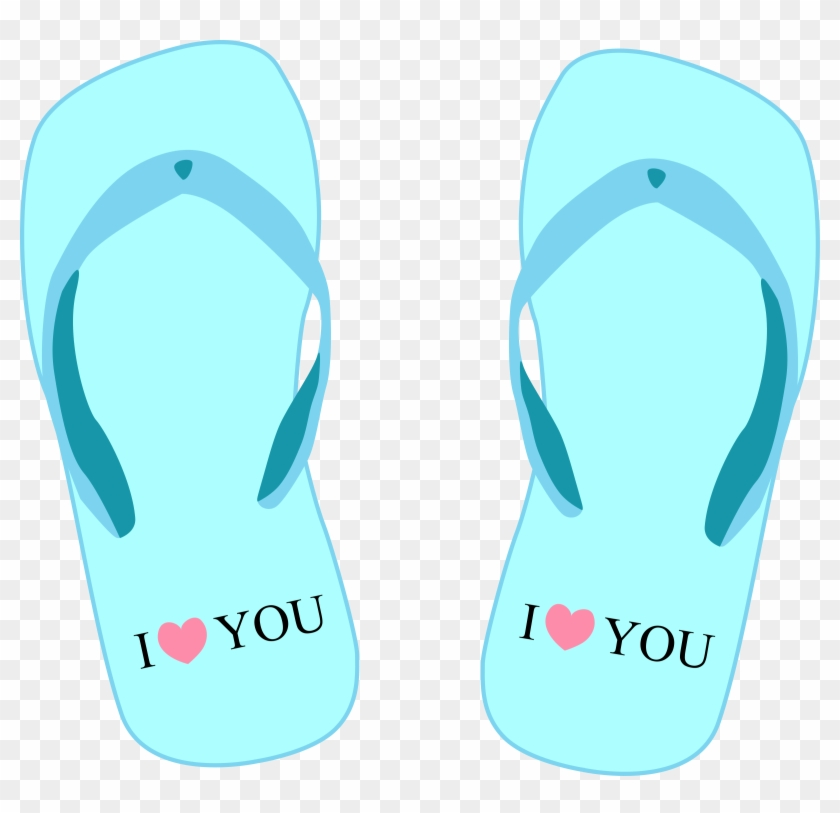 "Thong Light Blue With ""i Love - Summer Flip Flops Clipart Free #62966"