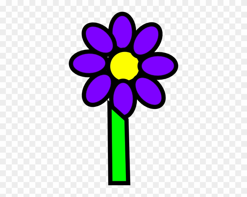 Flower With Stem Clip Art - Purple Flower With Stem Clipart #63040