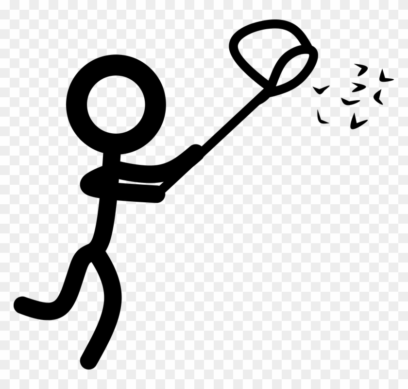 Catching Stick Man Net Running Spring Collecting - Clip Art #63078