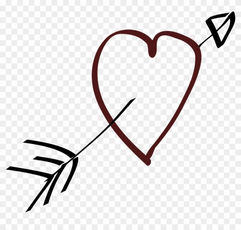 Liebe, Herz, Pfeil, Stilistische - Heart And Arrow Clipart #63272
