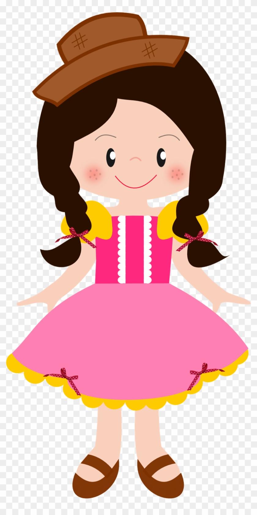 Menina Caipira Cute Montando Minha Festa - Moldes De Caipiras Para Festa Junina #63572