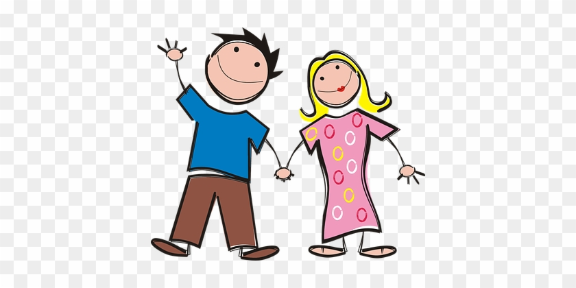 Boy Colorful Comic Characters Couple Femal - Man And Woman Holding Hands #63646