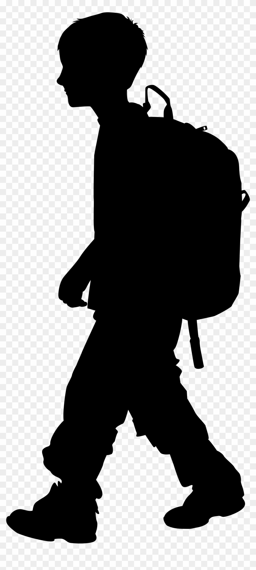 Boy With Backpack Silhouette Png Clip Art Imageu200b - Boy Silhouette Png #63878