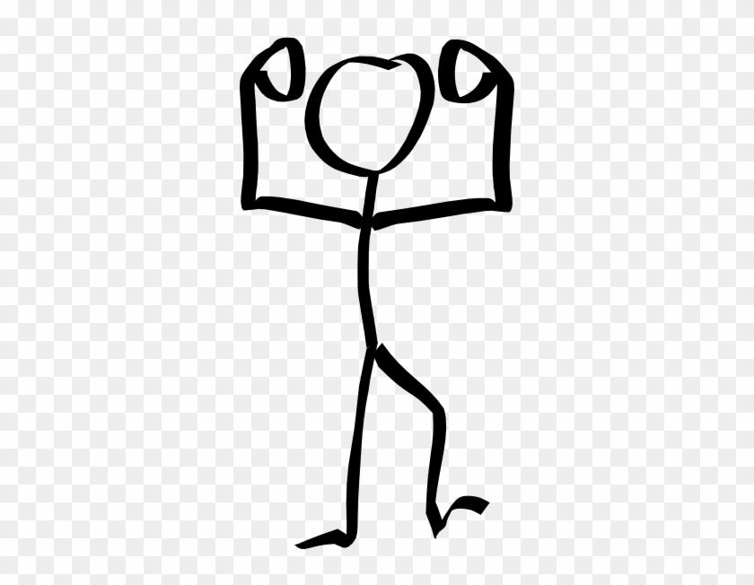 Stick Man Hands Up Clip Art - Stick Figure Muscles #63905