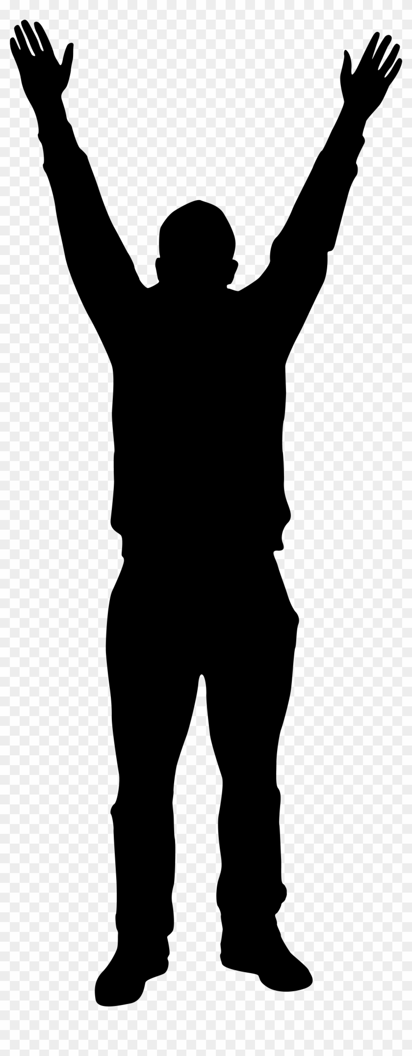 Man With Hands Up Silhouette Png Clip Art Imageu200b - Man Standing Silhouette Png #63974