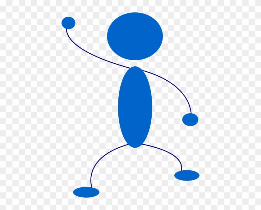 Waving Blue Stick Man Clip Art At Clker Com Vector - Waving Stick Figure Png #64003