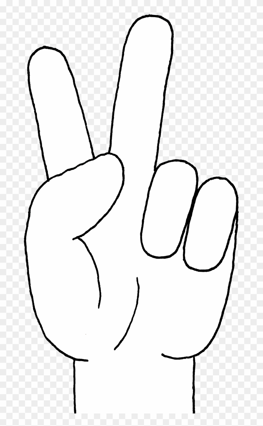 Peace Sign Hand Gesture Clipart - White Peace Hand Sign Png #64104
