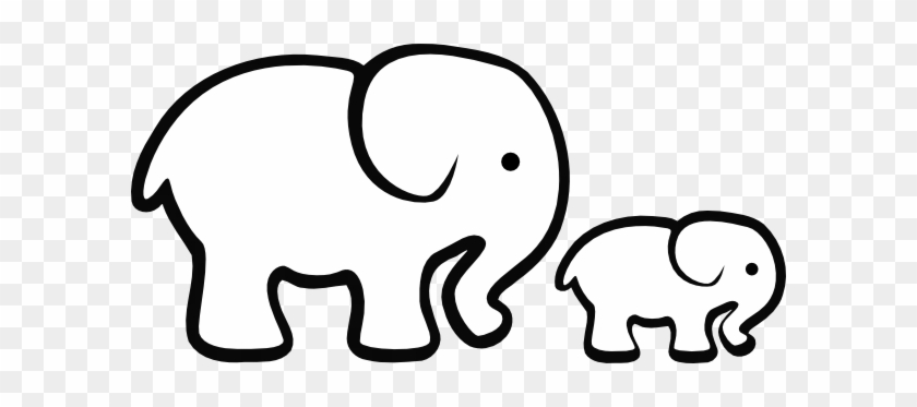 Elephant Clipart Easy Pencil And In Color Elephant - Baby Elephant Clipart Black And White #64109