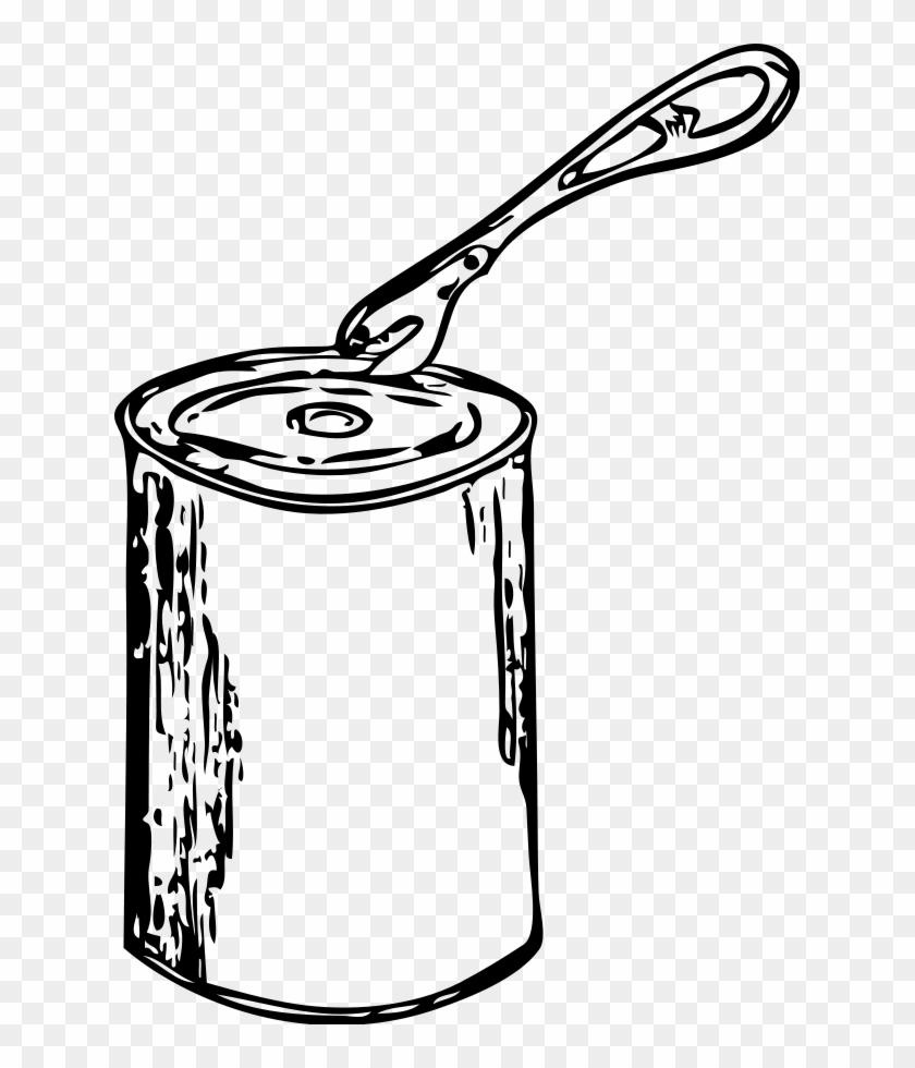 Can Opener And Can Clipart, Vector Clip Art Online, - Can Clipart Black And White #64432