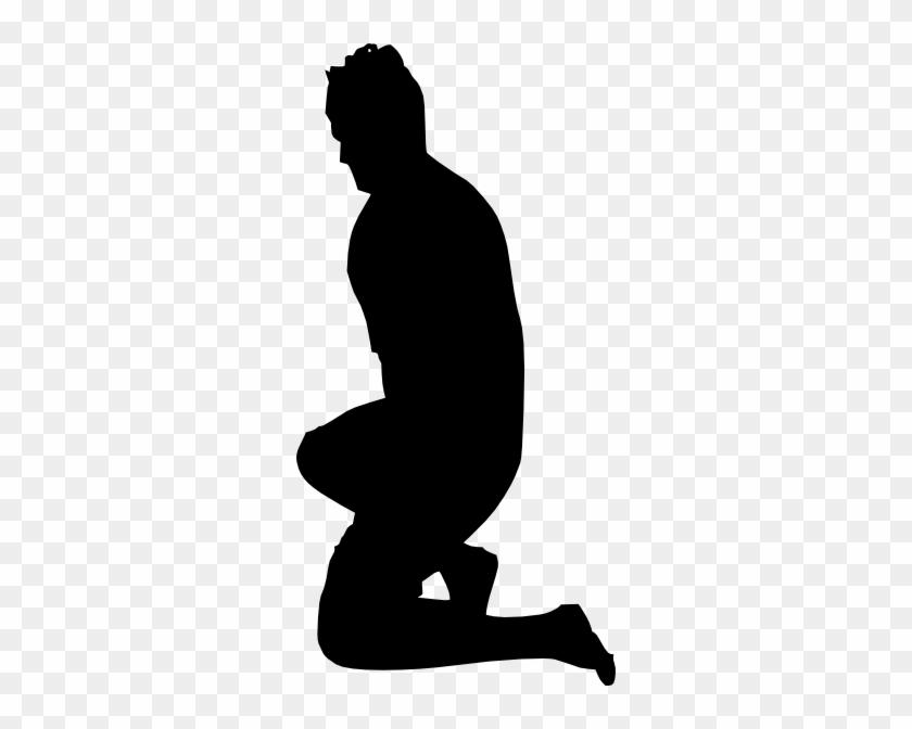 Kneeling Looking Up Clipart - Man Kneeling Silhouette #64483