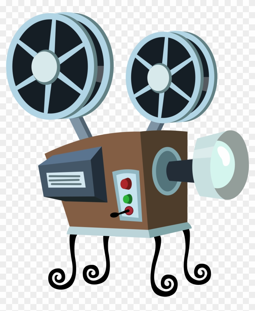See Here Movie Clipart Black And White Images Download - Movie Projector Cartoon Png #64528