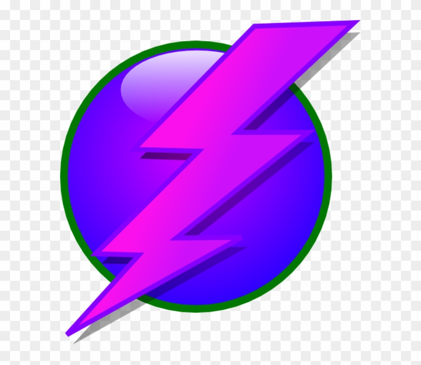 Circle Lightning Bolt Clipart - Lightning Bolt Clipart Purple #64744