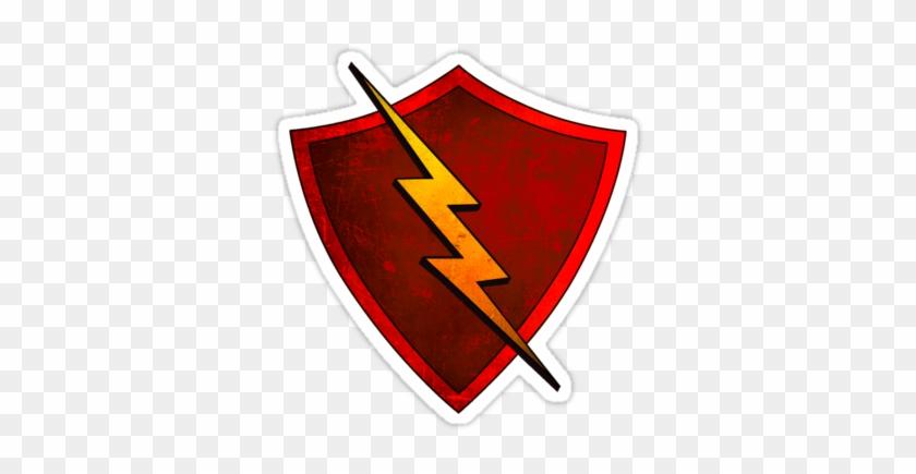 Red - Lighting - Bolt - Shield With Lightning Bolt #64823