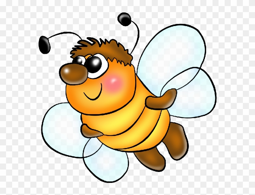 Funny Png Format Cartoon Clip Art Honey Bees On A Transparent - Cartoon Insects Png #65379