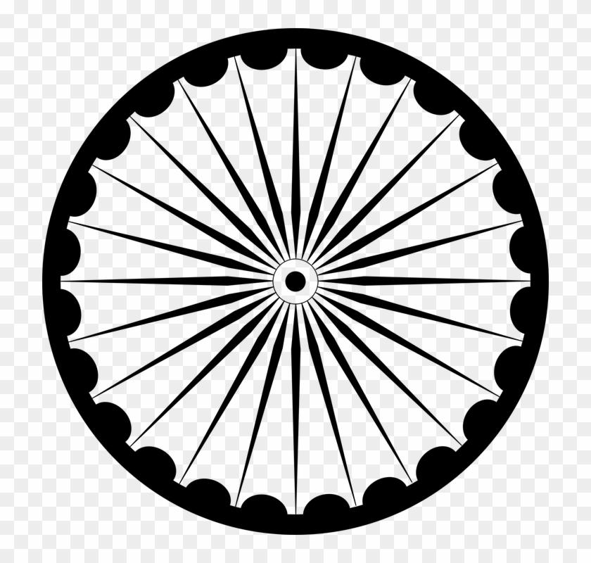 Wheel Spokes Asoka Chakra Flag India India - Ashok Chakra Black & White #65498