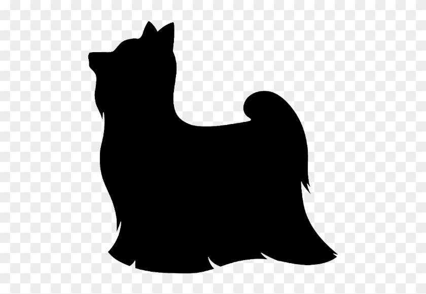 Small Dog Clipart - Long Hair Yorkie Silhouette #65602
