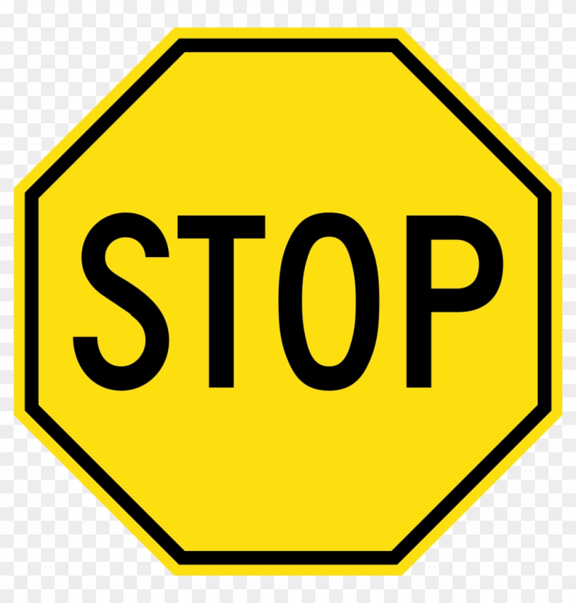 Yellow Stop Sign - Black And Yellow Stop Sign #66204