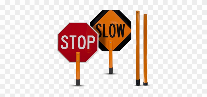 Stop / Slow Rigid Sign With Handle & Staff - Weird Florida News #66282