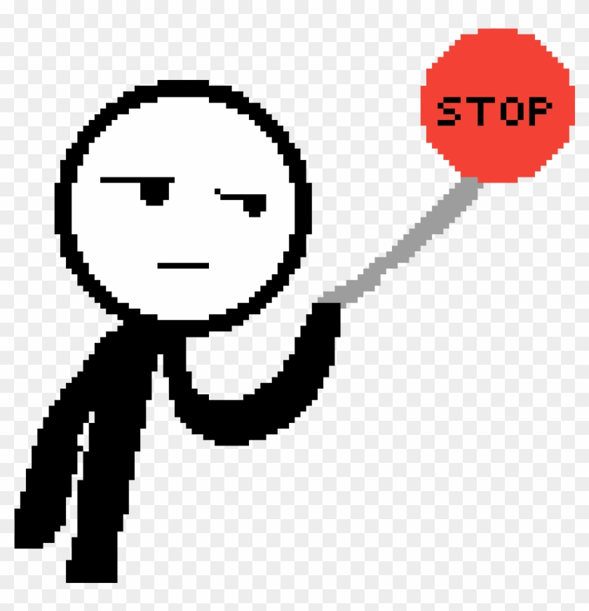 Stickman Holding Up A Stop Sign - Stop Sign #66405