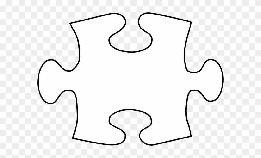 Jigsaw White Puzzle Piece Large Clip Art - Autism Puzzle Piece Vector #66614