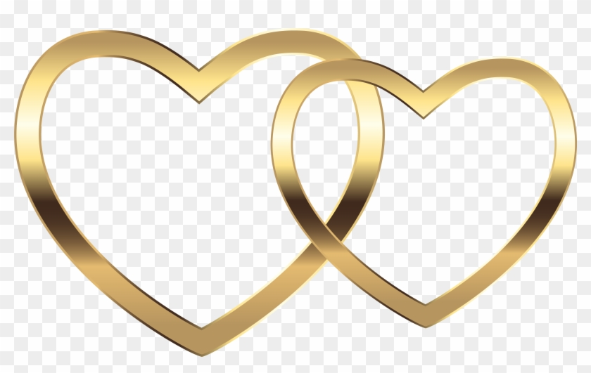Transparent Two Gold Hearts Png Clip Art Image - Two Heart Transparent Png #66934